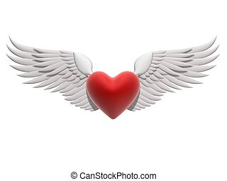 flying heart - 3d rendered illustration of white wings on a ...
