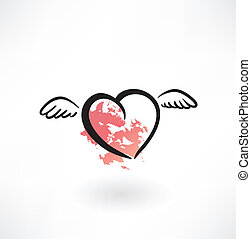 flying heart grunge icon
