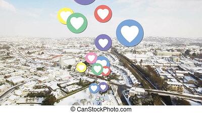 Flying heart icons 4k