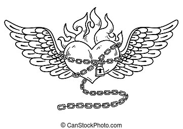 Flying heart in chain of love.Flaming heart tattoo