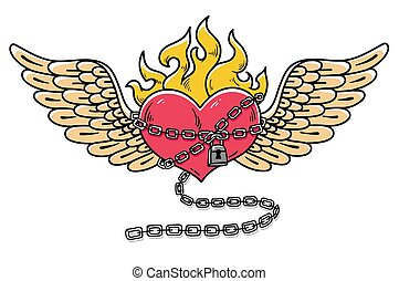 Flying heart in chains of love. Flaming heart tattoo. Loving heart on chain. Tattoo heart flushed with love.