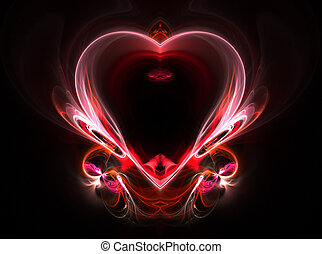 flying heart on a dark background. Abstraction