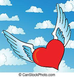 Flying heart on sky