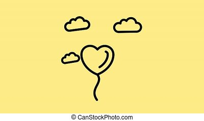 Flying Heart shaped baloon with clouds, Flying Balloon, Heart Balloon, Love, Valentine Love Line Icon Motion Graphic Animation.