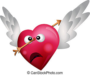 Flying Heart Shot with an Arrow isolated on white background...