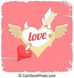flying heart with arrow inside
