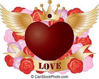 Flying Heart with Banner and Roses