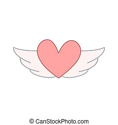 flying heart with wings. vector design illustration