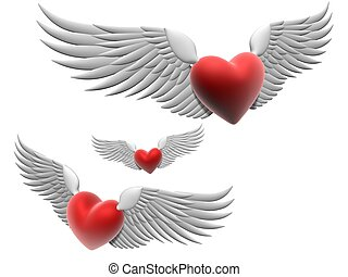 flying hearts - 3d rendered illustration of wings on red ...