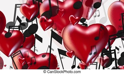 Flying hearts and notes