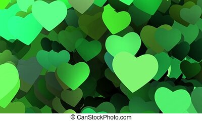 Flying hearts in green colors