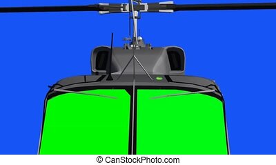 flying helicopter cockpit - green screen effect