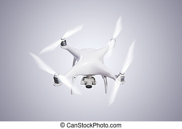 Flying helicopter drone with camera. Studio shot. - Flying...