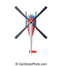 Flying Helicopter, View from Above, Air Transport Vector Illustration