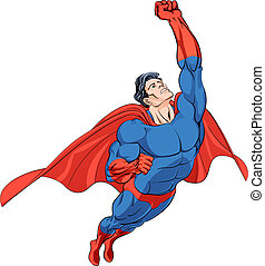 Flying hero - Superhero flying in a blue costume with red...