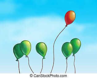 Flying high - Group of colored balloons over a bright blue...