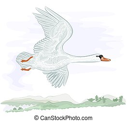 Flying high swan vector illustration