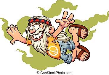 Flying hippie - Flying cartoon hippie. Vector clip art ...