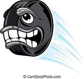 Flying hockey puck in cartoon style. Vector illustration