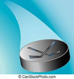 flying hockey puck with a loop on a blue background