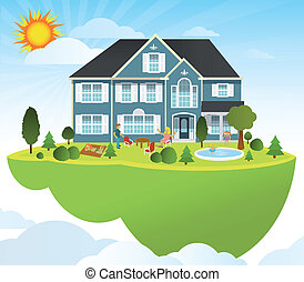 Flying home - Vector illustration of flying island (people...