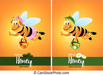 flying honey bee cartoon package design