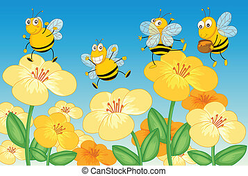 Flying honey bees - Illustration of flying honey bees in ...