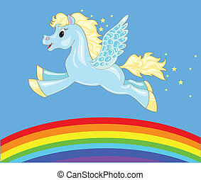 flying horse over the rainbow - a small flying Pegasus and...