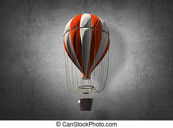 Flying hot air balloon in the room.
