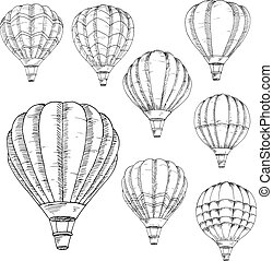 Flying hot air balloons sketches - Sketched flying hot air...