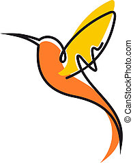 Flying hummingbird in yellow and orange - Doodle sketch of a...