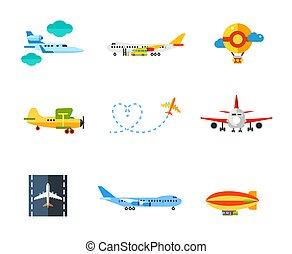 Flying icon set