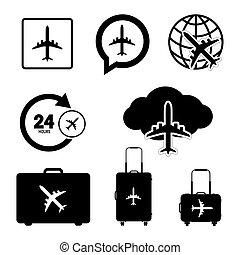 flying icon set travel in black color illustration