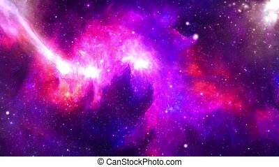 Flying In Orion Nebula 4K is motion footage for scientific and cinematic in space Loop Background. or scene and titles, logos. Science, astronomy, Nebula, Dust particles Clouds, black holes