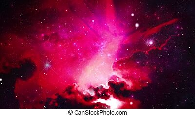 Flying In Orion Nebula 4K is motion footage for scientific films and cinematic in space Loop background for scene and titles, logos animation. Science, astronomy, Nebula, Dust particles Clouds.