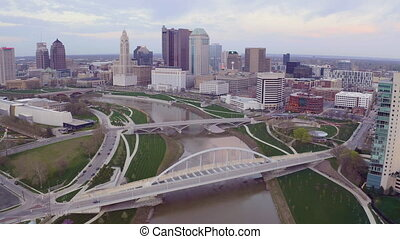 Flying in over the Columbus Ohio Skyline Featuring Scioto...
