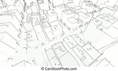 Flying in the sketched city on white