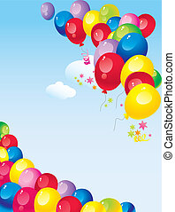 bright colorful balloons - flying in the sky bright colorful...