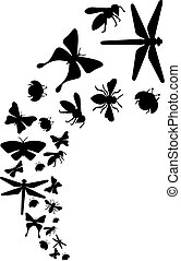Flying Insects (dragonfly, bee, butterfly, ladybug).