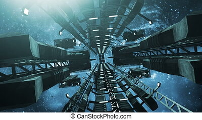 Flying into an animated impressive space station 4K - An...