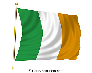 Flying Irish Flag - Irish Flag flying in the wind with gold...