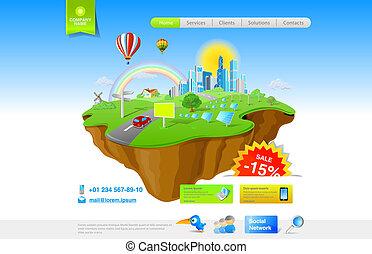 Flying Island concept - Flying Island. Future, green energy...