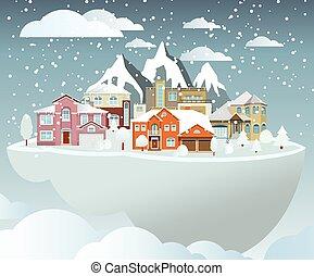 Flying island (village in winter) - Vector illustration of...
