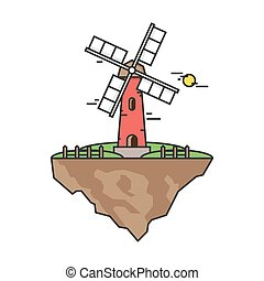 Flying island with a windmill. Farmer building for the production of flour or grain processing. Illustration in flat linear style. Vector, EPS10.