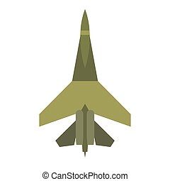 Flying jet fighter flat icon