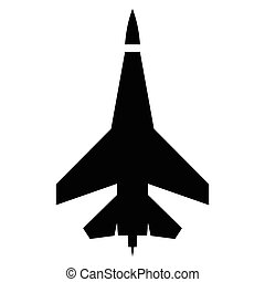 Flying jet fighter simple icon