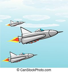 Flying jet fighter with missile.