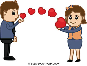 Flying Kiss and Hearts Vector - Creative Conceptual Drawing...