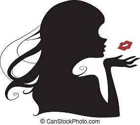 Flying Kiss Silhouette - Illustration Featuring the...