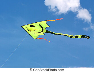 Flying kite in the blue sky